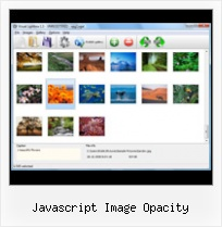 Javascript Image Opacity pop up menus floating center