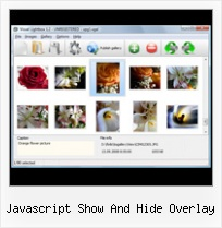 Javascript Show And Hide Overlay close control javascript