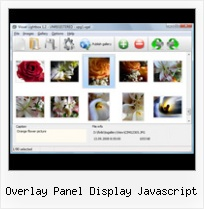 Overlay Panel Display Javascript pop up window with effect ajax
