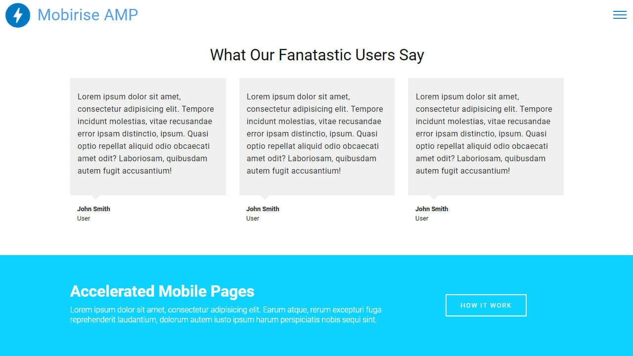 AMP Testimonial and Info Components and Templates