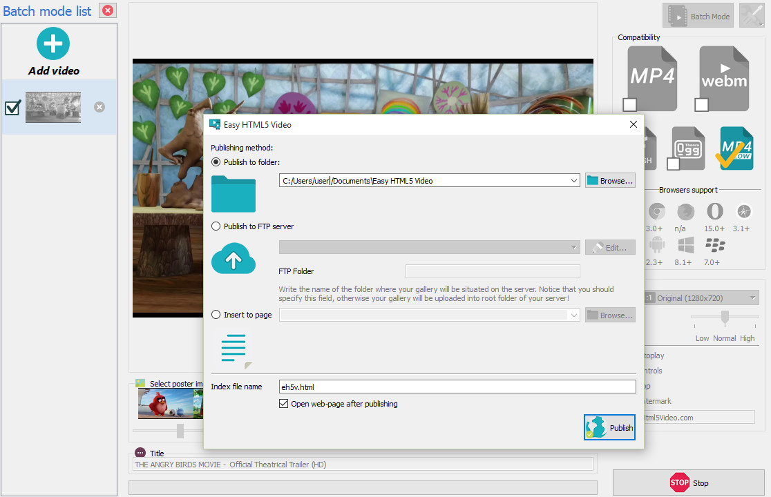 Free MP4 to HTML5 Converter
